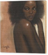 Woman With Afro Wood Print by L Cooper