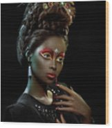 Woman With Beehive Hairstyle And Jewelry Headdress Wood Print