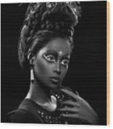 Woman With Beehive Hairstyle And Jewelry Headdress Owner Wood Print