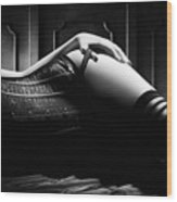 Woman With Black Corset Wood Print