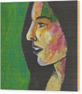 Woman With Black Lipstick Wood Print