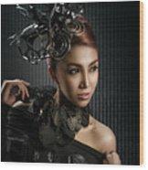 Woman With Black Metallic Headdress Wood Print