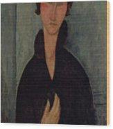 Woman With Blue Eyes Wood Print by Amedeo Modigliani