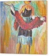 Woman With Boa Wood Print