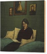 Woman With Book  Wood Print