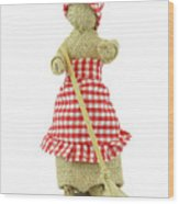 Woman With Broom In Her Hands Wood Print