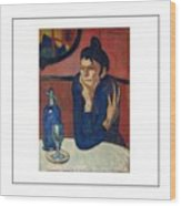 Woman With Coffee Femme Au Cafe Wood Print