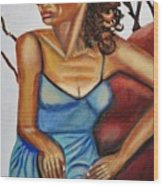 Woman With Curly Hair Wood Print