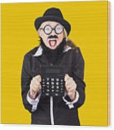 Woman With Electronic Calculator Wood Print