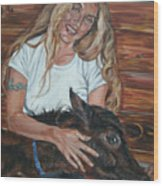 Woman With Foal Wood Print