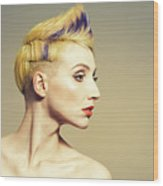 Woman With Funky Hairstyle Wood Print