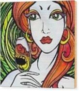 Woman With Glass Wood Print