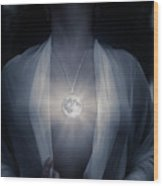 Woman With Glowing Full Moon Pendant On Her Chest Wood Print
