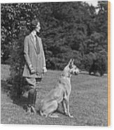 Woman With Great Dane, C.1920-30s Wood Print