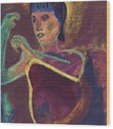 Woman With  Green Arm Wood Print