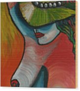 Woman With Hat Wood Print