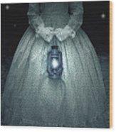 Woman With Lantern Wood Print