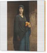Woman With Oranges Wood Print