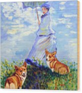 Woman With Parasol And Corgis After Monet Wood Print