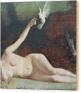 Woman With Pigeons Wood Print by Ernst Philippe Zacharie