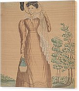 Woman With Plumed Hat Wood Print