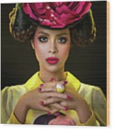 Woman With Red Flower Headdress Wood Print