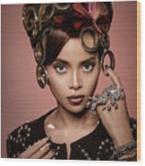 Woman With Ring Headdress And Bouffant Hairstyle Wood Print