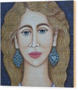 Woman With Silver Earrings Wood Print