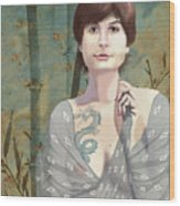 Woman With Tattoo Wood Print