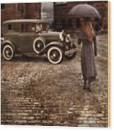 Woman With Umbrella By Vintage Car Wood Print