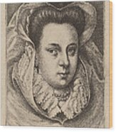 Woman With White Veil And Black Hat (mary Stuart?) Wood Print