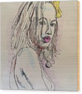 Woman With Yellow Flower Wood Print