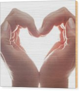 Woman's Hands Make A Heart Shape On White Background, Backlight. Love Wood Print