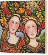 Women and hats with bird Wood Print