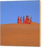 Women Carrying Water In The Thar Desert - Rajasthan, India. Wood Print