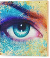 Women Eye Color Rust Effect Painting Collage Violet Makeup. Wood Print