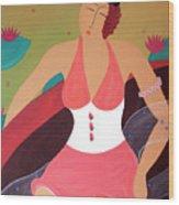 Women In a Boat Wood Print
