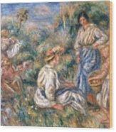 Women In A Landscape Wood Print