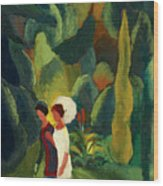 Women In A Park With A White Parasol Wood Print