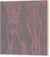 Women In Shower In Red Wood Print