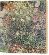 Women In The Flowers Wood Print by Claude Monet