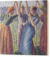 Women Planting Peasticks Wood Print by Camille Pissarro