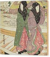 Women Walking Over A Bridge In Snow Wood Print