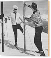 Women Waxing Skis Wood Print