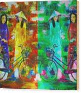 Women With Bike Wood Print