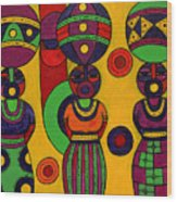 Women With Calabashes II Wood Print
