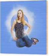 Womens Fashion Pinup Model On Blue Studio Lights Wood Print