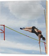 Womens Pole Vault Wood Print