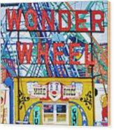Wonder Wheel Amusement Park 10 Wood Print