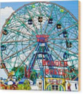Wonder Wheel Amusement Park 6 Wood Print